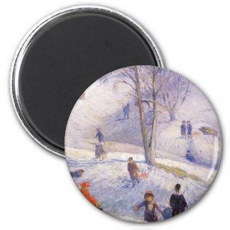 Vintage Christmas, Sledding, Central Park Glackens 2 Inch Round Magnet