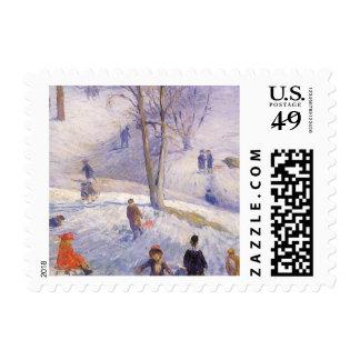 Vintage Christmas Sledding Central Park Glackens Postage Stamp