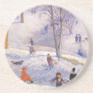 Vintage Christmas, Sledding, Central Park Glackens Sandstone Coaster