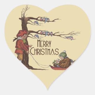 Vintage Christmas Sledding Heart Sticker