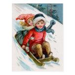 Vintage Christmas Sledding Postcards