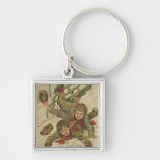 Vintage Christmas Sledding Silver-Colored Square Keychain