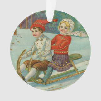 Vintage Christmas Sledding with Children Ornament