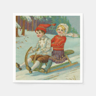 Vintage Christmas Sledding with Children Paper Napkin at Zazzle