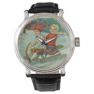 Vintage Christmas Sledding with Children Wrist Watches