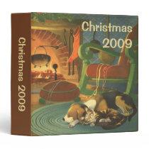 Vintage Christmas, Sleeping Animals by Fireplace 3 Ring Binder