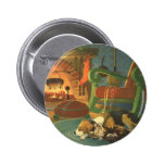 Vintage Christmas, Sleeping Animals by Fireplace Button