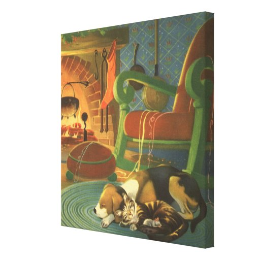 Vintage Christmas, Sleeping Animals by Fireplace Gallery Wrap Canvas
