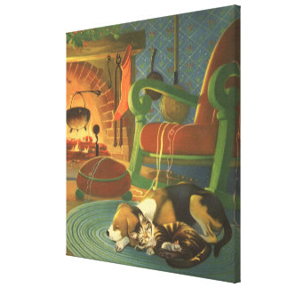 Vintage Christmas, Sleeping Animals by Fireplace Canvas Print