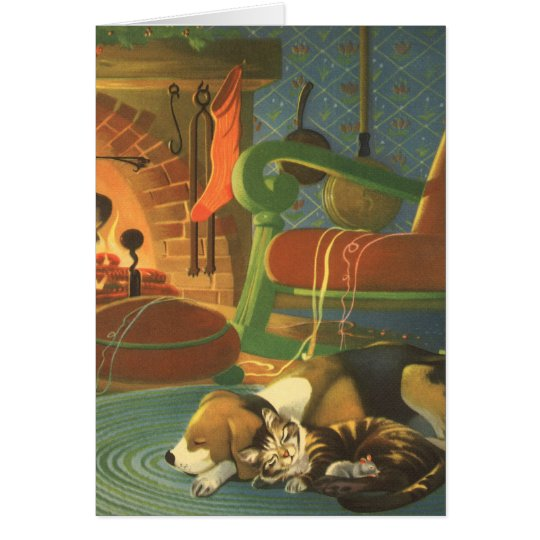 Vintage Christmas, Sleeping Animals by Fireplace Card