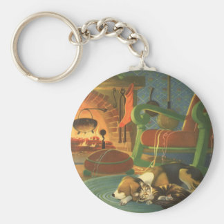 Vintage Christmas, Sleeping Animals by Fireplace Basic Round Button Keychain