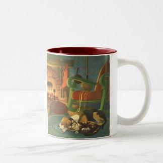 Vintage Christmas, Sleeping Animals by Fireplace Coffee Mug