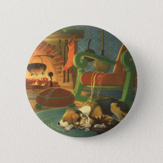 Vintage Christmas, Sleeping Animals by Fireplace Pinback Button