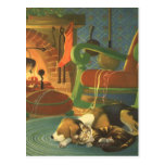 Vintage Christmas, Sleeping Animals by Fireplace Postcards