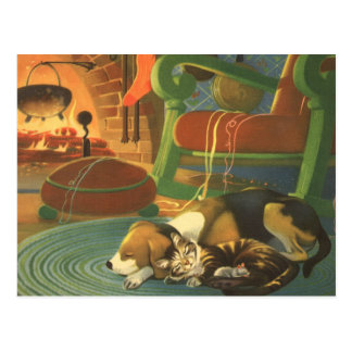 Vintage Christmas, Sleeping Animals by Fireplace Post Card
