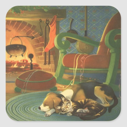 Vintage Christmas, Sleeping Animals by Fireplace Square Stickers