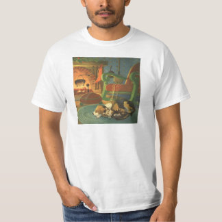 Vintage Christmas, Sleeping Animals by Fireplace T-Shirt