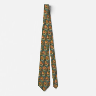 Vintage Christmas, Sleeping Animals by Fireplace Tie