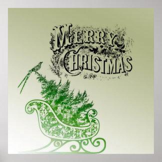 Vintage Christmas Sleigh Posters