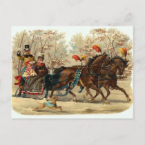 Vintage Christmas Sleigh Ride Holiday Postcard