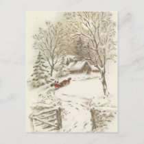 Vintage Christmas Sleigh Ride In Snow Holiday Postcard