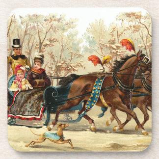 Vintage Christmas Sleigh Ride Set of Cork Coasters