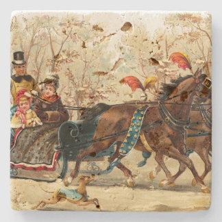 Vintage Christmas Sleigh Ride Stone Coaster