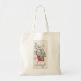 Vintage Christmas Sleigh Tote Bag