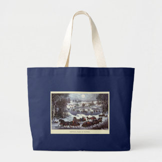 Vintage Christmas Sleighs, Central Park in Winter Large Tote Bag