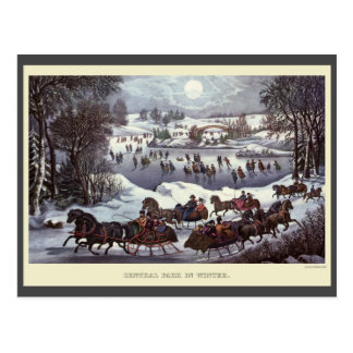 Vintage Christmas Sleighs, Central Park in Winter Postcard