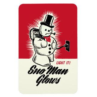 Vintage Christmas Sno Man Glows Magnet