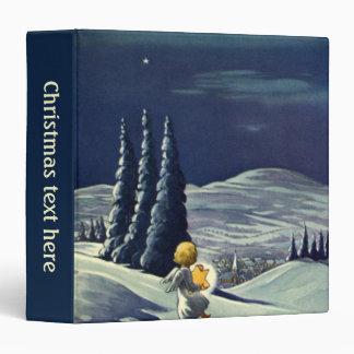 Vintage Christmas Snow Angel Walking with a Star Vinyl Binder