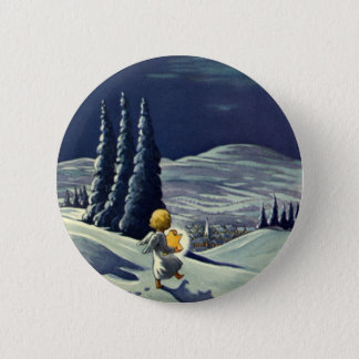 Vintage Christmas, Snow Angel Walking with a Star Button