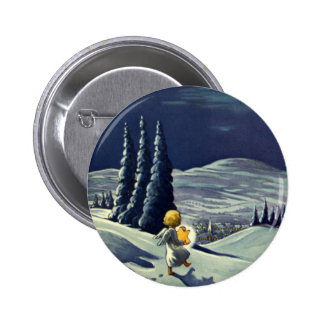Vintage Christmas Snow Angel Walking with a Star Button