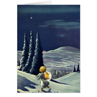 Vintage Christmas, Snow Angel Walking with a Star Card