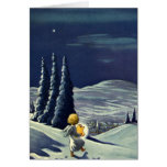 Vintage Christmas Snow Angel Walking with a Star Greeting Card