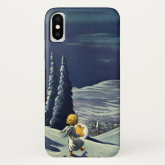 Vintage Christmas, Snow Angel Walking with a Star iPhone X Case