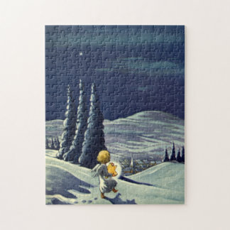 Vintage Christmas, Snow Angel Walking with a Star Jigsaw Puzzle