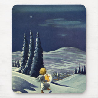 Vintage Christmas, Snow Angel Walking with a Star Mouse Pad