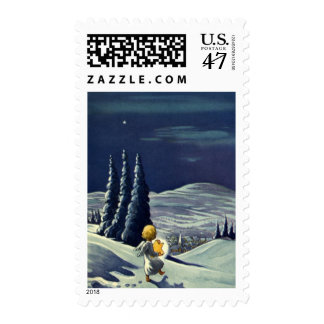 Vintage Christmas Snow Angel Walking with a Star Postage