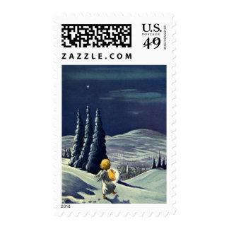 Vintage Christmas, Snow Angel Walking with a Star Postage