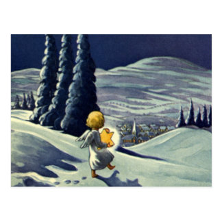 Vintage Christmas, Snow Angel Walking with a Star Postcard
