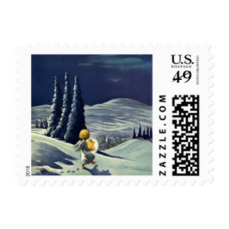 Vintage Christmas Snow Angel Walking with a Star Stamp