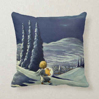 Vintage Christmas, Snow Angel Walking with a Star Throw Pillow