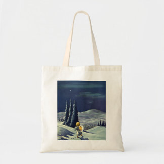 Vintage Christmas, Snow Angel Walking with a Star Tote Bag