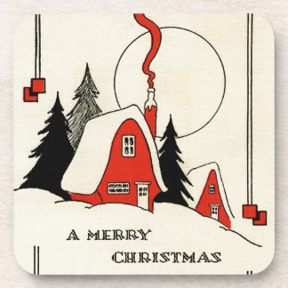 Vintage Christmas Snow Cabin Beverage Coaster