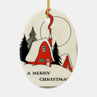 Vintage Christmas Snow Cabin Ceramic Ornament