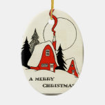 Vintage Christmas Snow Cabin Double-Sided Oval Ceramic Christmas Ornament