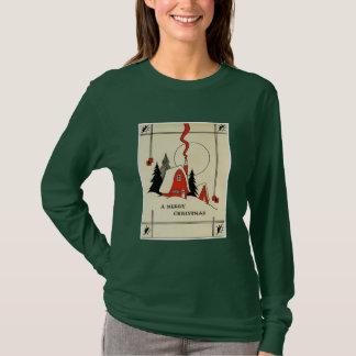 Vintage Christmas Snow Cabin T-Shirt
