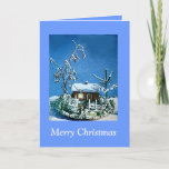 Vintage Christmas Snow covered Cottage Model Card